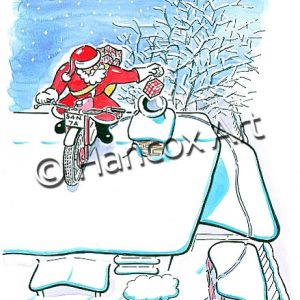 Santa Trials Bike Christmas Card