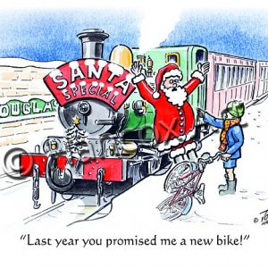 Last year you promised me a new bike Isle of Man Christmas Card