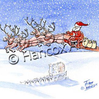 Santa above Laxey Wheel Isle of Man Christmas Card