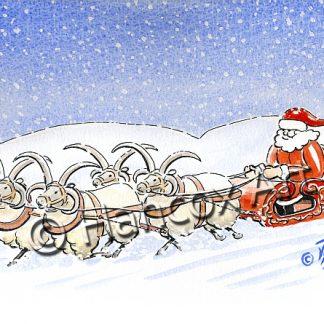Santa's Loaghtan Sleigh Isle of Man Christmas Card