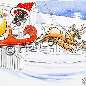 Santa at Ballaugh Bridge Isle of Man Christmas Card