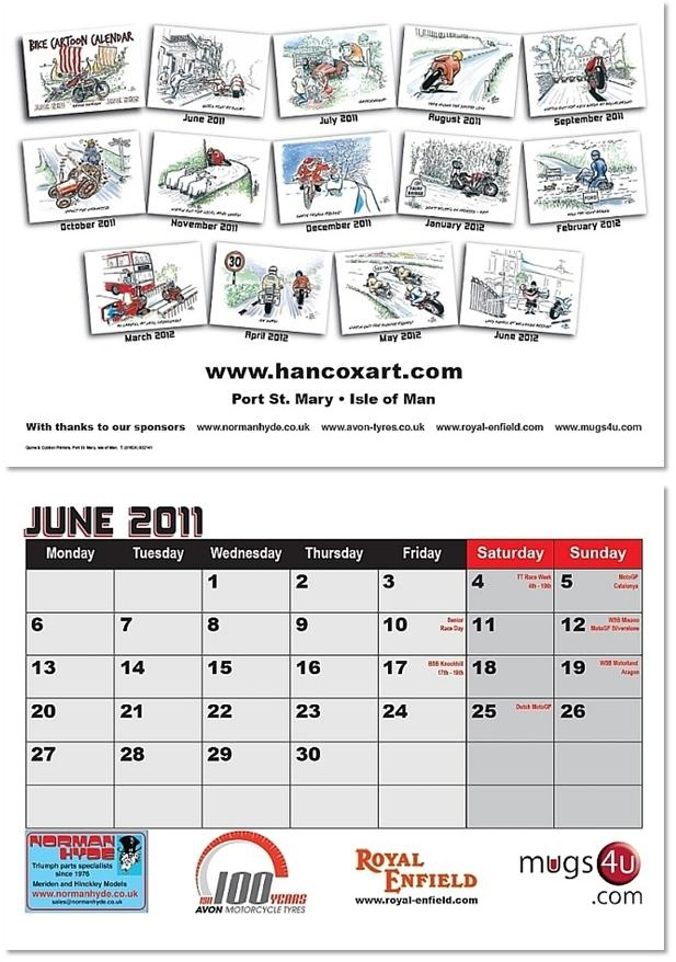 Bike Cartoon Calendar Example Pages