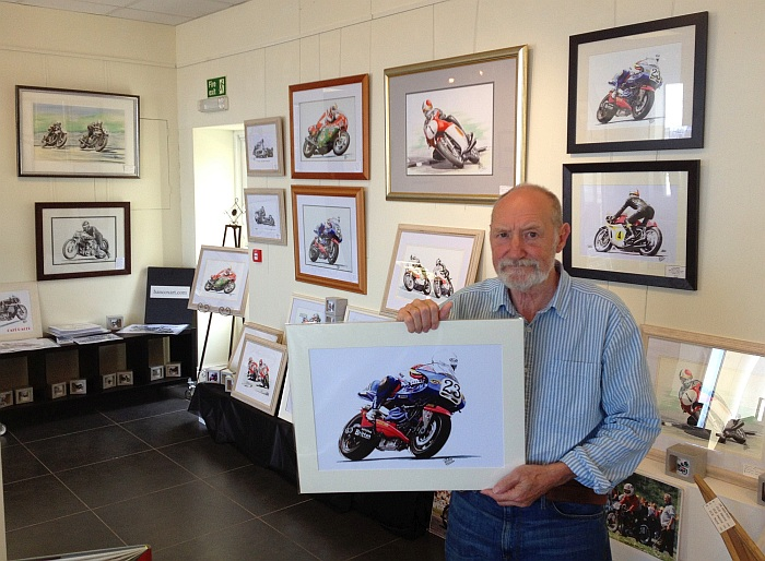 John at his Manx Grand Prix 2015 art exhibition