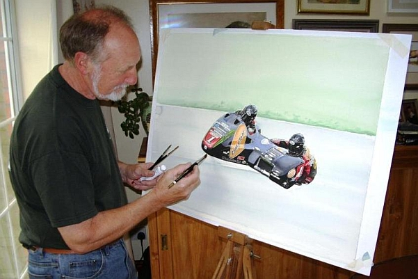 John at the drawing board, working on the Nick Crowe & Mark Cox fundraising painting.