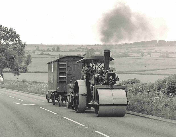 John driving Graham Burberry's Aveling & Porter roller 'Katy' on the Southam to Banbury road en-route to Bloxham steam rally.